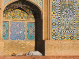Man Sleeping in Niche of the Friday Mosque or Masjet-Ejam, Herat, Afghanistan Photographic Print by Jane Sweeney