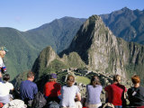 Tourists Looking out Over Machu Picchu, Unesco World Heritage Site, Peru, South America Photographic Print by Jane Sweeney