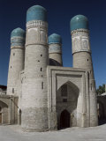 Towers of the Char Minar, Medressa Gatehouse Built in 1807, Bukhara, Uzbekistan, Central Asia Photographic Print by Tony Waltham