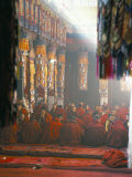Monks Inside the Main Prayer Hall, Drepung Buddhist Monastery, Lhasa, Tibet, China Fotografie-Druck von Tony Waltham