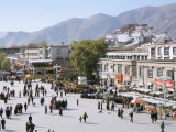 Main Square in Front of Jokhang, Potala Palace Beyond, Lhasa, Tibet, China Photographic Print by Tony Waltham