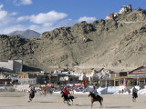 Game of Polo on Leh Polo Field, Tsemo Gompa on Ridge Behind, Leh, Ladakh, India Photographic Print by Tony Waltham
