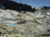 Steam Vents, Boiling Pools, in Bumpass Hell Geothermal Area, California, USA Photographic Print by Tony Waltham