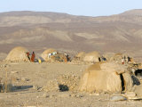 Desert Camp of Afar Nomads, Afar Triangle, Djibouti, Africa Fotografisk tryk af Tony Waltham
