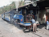 Toy Train from Darjeeling to Plains Refuelling at Goom Station, West Bengal State, India Photographic Print by Tony Waltham