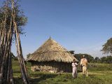 Oromo Family Outside Their House, Oromo Village Near Langano Lake, Rift Valley, Ethiopia, Africa Photographic Print by Jane Sweeney