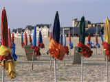 Beach and Rolled up Umbrellas, Deauville, Basse Normandie (Normandy), France Photographic Print by Guy Thouvenin