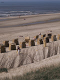 Cane Chairs on Beach, Egmond, Holland Fotografie-Druck von I Vanderharst