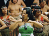 Maori Poi Dancers, Waitangi, North Island, New Zealand Photographic Print by Julia Thorne