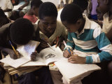 Children in School in Espungabera, Mamica Province, Mozambique, Africa Fotografisk tryk af Liba Taylor