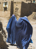 Ladies Wearing Burqas Walk Towards Houses Inside the Ancient Walls of Citadel, Ghazni, Afghanistan Photographic Print by Jane Sweeney