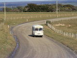 Te One School Bus, Chatham Islands Photographic Print by Julia Thorne