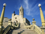 Seafront Church, Sitges, Costa Dorada (Costa Daurada), Catalonia, Spain Photographic Print by Ruth Tomlinson