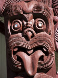 Maori Wooden Carving with Tongue Sticking Out, Rotorua, North Island, New Zealand Photographic Print by D H Webster