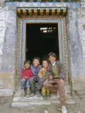 Group of Children from Village, Chedadong, Tibet, China Photographic Print by Doug Traverso
