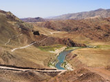 Hari Rud River Flowing Through Fertile Valley at Base of Red Rock Mountains, Ghor Province Photographic Print by Jane Sweeney