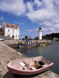 Lighthouse on Waterfront, Port Sauzon, Belle Ile En Mer, Brittany, France Photographic Print by Guy Thouvenin