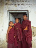 Portrait of Three Tibetan Buddhist Monks, Tashi Jong Monastery, Tibet, China Photographic Print by Simon Westcott