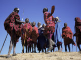 Masai Warriors Performing Jumping Dance, Serengeti Park, Tanzania, East Africa, Africa Photographic Print by D H Webster