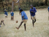 School Children Playing Football, Western Area, Kenya, East Africa, Africa Photographic Print by Liba Taylor