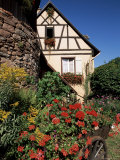 Timbered House and Flower-Filled Cart, Riquewihr, Haut-Rhin, Alsace, France Photographic Print by Ruth Tomlinson