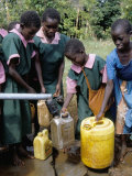 School Children at Water Pump, Kenya, East Africa, Africa Photographic Print by Liba Taylor