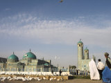 Lady in Burqa Feeding Famous White Pigeons at Shrine of Hazrat Ali, Mazar-I-Sharif, Afghanistan Photographic Print by Jane Sweeney
