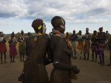 Karo People with Body Painting, Dancing, Lower Omo Valley Photographic Print by Jane Sweeney