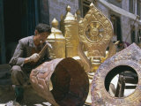 Metalsmith Making Temple Ornaments, Lhasa, Tibet, China Photographic Print by Doug Traverso