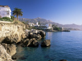 View Along Rocky Coast to Town and Mountains, Nerja, Malaga Area, Costa Del Sol, Andalucia, Spain Photographic Print by Ruth Tomlinson