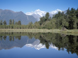 Perfect Reflection on Lake Matheson, Fox Glacier, Westland, South Island, New Zealand Photographic Print by D H Webster
