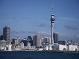 View of City and Tower from the Water, Auckland, North Island, New Zealand Photographic Print by D H Webster