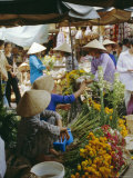 Flower Stall in Southern Delta Village of Mytho, Vietnam, Indochina, Southeast Asia Photographic Print by Doug Traverso