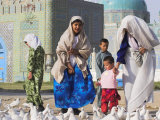 Family Looking at the Famous White Pigeons, Shrine of Hazrat Ali, Mazar-I-Sharif, Afghanistan Photographic Print by Jane Sweeney