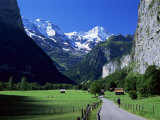 View Along Valley to the Breithorn, Lauterbrunnen, Bern, Switzerland Photographic Print by Ruth Tomlinson