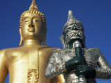 Giant Statue of the Buddha and Guardian, Koh Samui, Thailand, Southeast Asia Photographic Print by D H Webster