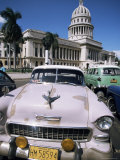 Parliament House and 1950s American Cars, Havana, Cuba, West Indies, Central America Photographic Print by D H Webster