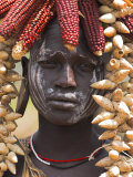 Portrait of a Mursi Lady, South Omo Valley, Ethiopia, Africa Photographic Print by Jane Sweeney