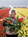 National Costume and Tulips, Holland Photographic Print by Adina Tovy