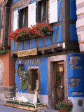 Blue House with Windowbox Full of Geraniums, Niedermorschwihr, Haut-Rhin, Alsace, France Photographic Print by Ruth Tomlinson