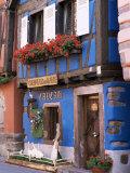 Blue House with Windowbox Full of Geraniums, Niedermorschwihr, Haut-Rhin, Alsace, France Photographic Print by Ruth Tomlinson