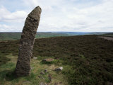 Standing Stone, Flat Howe Tumulus, Westerdale, Yorkshire, England, United Kingdom Photographic Print by D H Webster
