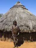 Hamer (Hamar) Girl in Goatskin Dress, Dombo Village, Turmi, Lower Omo Valley, Ethiopia, Africa Photographic Print by Jane Sweeney