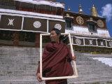 Tibetan Buddhist Monk, Drepung Monastery, Lhasa, Tibet, China Photographic Print by Jane Sweeney