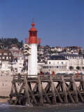 Lighthouse and Jetty, Trouville, Basse Normandie (Normandy), France Photographic Print by Guy Thouvenin