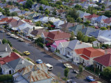 Aerial View of Wooden Villas, Corrugated Iron Roofs, Suburban Street, Auckland Photographic Print by Julia Thorne