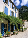 Village House with Blue Shutters, Lapradelle-Puilaurens, Aude, Languedoc-Roussillon, France Photographic Print by Ruth Tomlinson