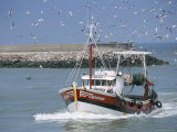 Fishing Boat Returning from Fishing, Deauville, Normandy, France Lámina fotográfica por Guy Thouvenin