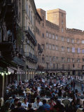 Outdoor Dining in the Piazza Del Campo, Siena, Tuscany, Italy Photographic Print by Ruth Tomlinson