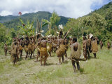 Yali People Dancing at a Ceremony, Membegan, Irian Jaya, New Guinea, Indonesia Photographic Print by Jane Sweeney